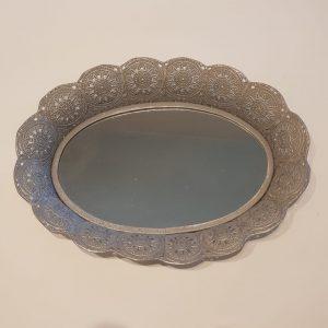 Bandeja ovalada metal y espejo