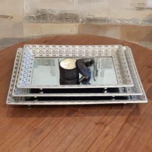 Bandeja rectangular plateada espejo