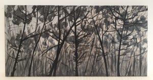 Cuadro original bosque gris I